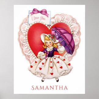Vintage Valentine custom name poster