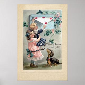Vintage Valentine Dachshund Posters