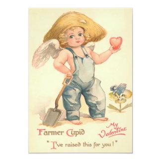 Vintage Valentine Farmer Cupid Flat Card