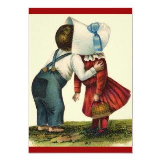 Vintage Valentine First Kiss Day 13 Cm X 18 Cm Invitation Card