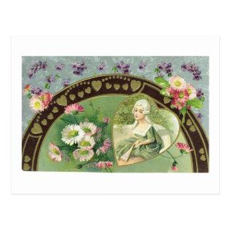Vintage Valentine Floral Postcard