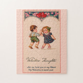 Vintage Valentine Girl And Boy Dancing Jigsaw Puzzle