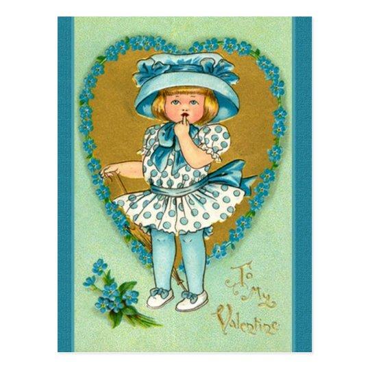Vintage Valentine Girl Dressed in Blue Polka Dots Postcard