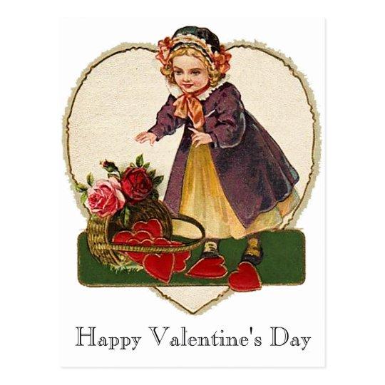 Vintage Valentine Girl Postcard
