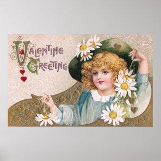 Vintage Valentine Girl with Daisies Print