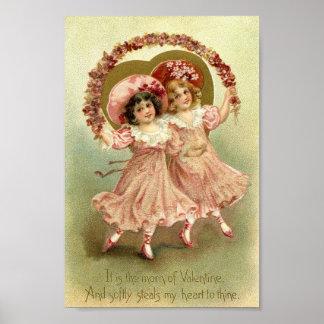 Vintage Valentine Girls Poster