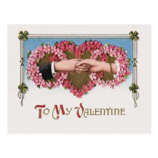 Vintage Valentine Hands and Floral Hearts Postcard
