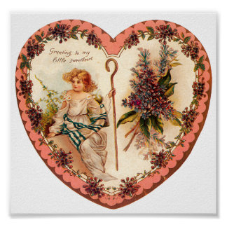 Vintage Valentine Heart With Purple Flowers Posters
