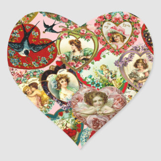 Vintage Valentine Hearts Heart Stickers