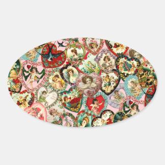 Vintage Valentine Hearts Oval Sticker