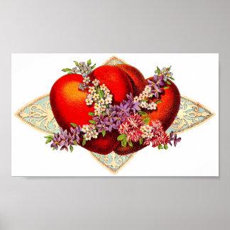 Vintage Valentine Hearts Print