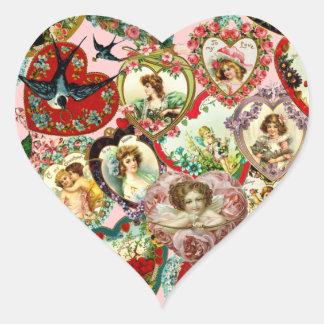 Vintage Valentine Hearts Heart Sticker