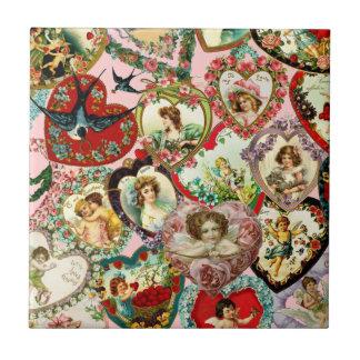 Vintage Valentine Hearts Tile