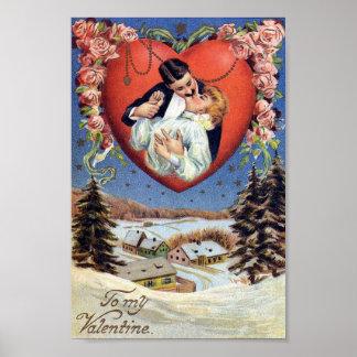 Vintage Valentine Kiss Poster