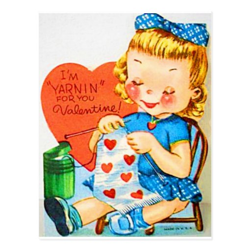 Vintage Valentine Knitting Post Card