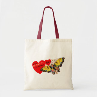Vintage Valentine Lady Butterfly Hearts Budget Tote Bag