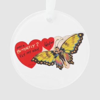 Vintage Valentine Lady Butterfly Hearts Ornament