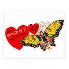 Vintage Valentine Lady Butterfly Hearts Postcard