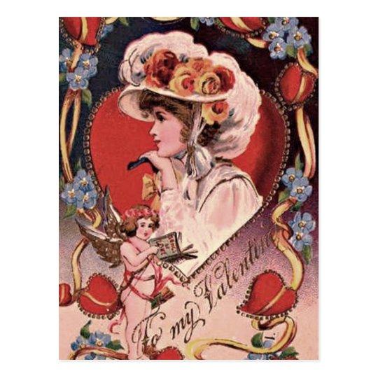 Vintage Valentine Lady Postcard