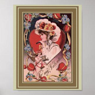 Vintage Valentine Lady Poster
