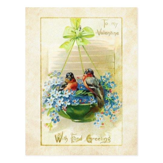 Vintage Valentine Love Birds and Forget Me Nots Postcard