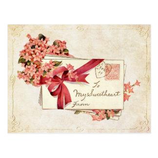 Vintage Valentine Love Letters and Flowers Postcard