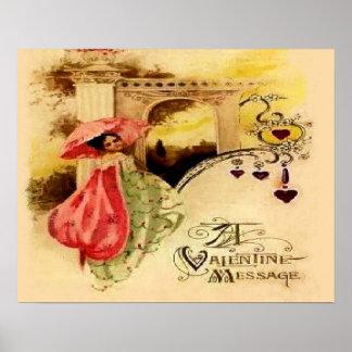 Vintage Valentine Message Pink Parasol Posters
