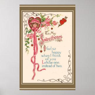 Vintage Valentine Poem Poster