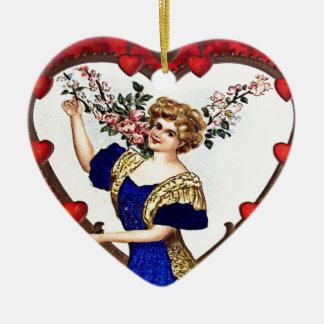Vintage Valentine Postcard Ceramic Heart Decoration