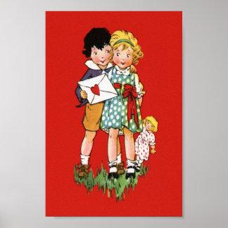 Vintage Valentine Postcard Print