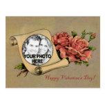Vintage Valentine Romantic Rose & Scroll Frame Post Cards