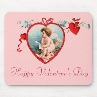 Vintage Valentine s Day Cupid Mouse Pad
