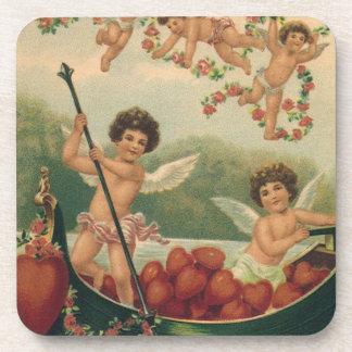 Vintage Valentine s Day Victorian Cupids in Boat Coasters