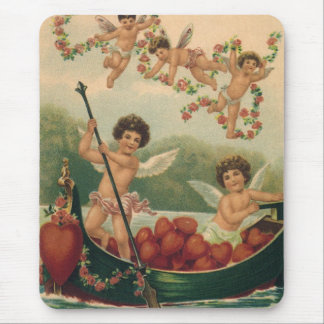 Vintage Valentine s Day Victorian Cupids in Boat Mousepad