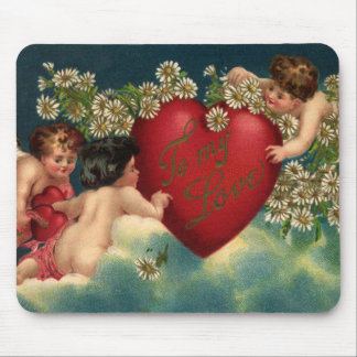 Vintage Valentine s Day Victorian Cupids on Clouds Mouse Pads