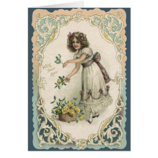 Vintage Valentine s Day Victorian Girl with Roses Cards
