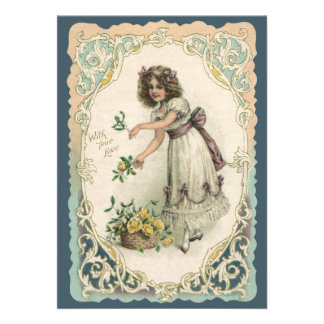 Vintage Valentine s Day Victorian Girl with Roses Personalized Announcements