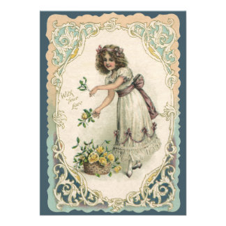 Vintage Valentine s Day Victorian Girl with Roses Invitation