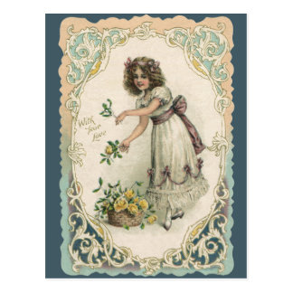 Vintage Valentine s Day Victorian Girl with Roses Postcard
