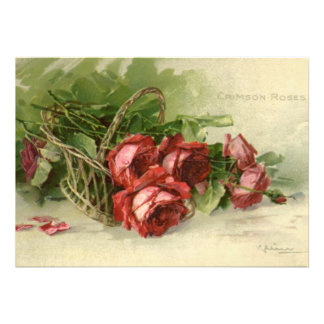 Vintage Valentine s Day Victorian Red Roses Personalized Announcements