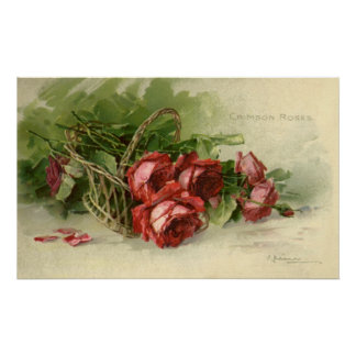 Vintage Valentine s Day Victorian Red Roses Poster