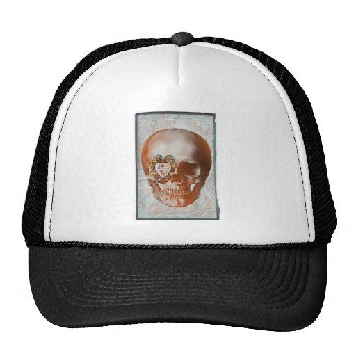 Vintage Valentine Skull Grunge Art Hats
