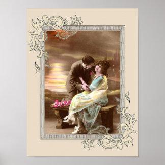 Vintage Valentine Sunset Poster