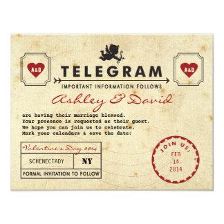 Vintage Valentine Telegram Card Save the Date 11 Cm X 14 Cm Invitation Card