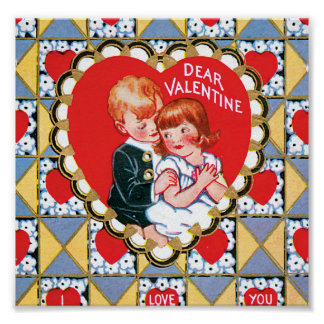 Vintage Valentine Triangles and Hearts Print