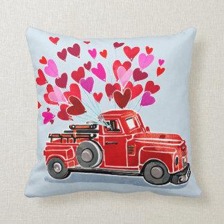 Vintage Valentine Truck Add Name Cushion