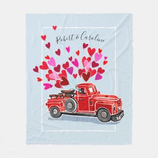 Vintage Valentine Truck Add Names Fleece Blanket