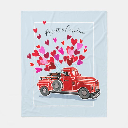 Vintage Valentine Truck Add Names Fleece Blanket
