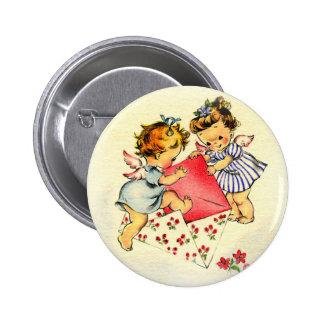 Vintage Valentine ~ Two Cupids Sending Their Love 6 Cm Round Badge