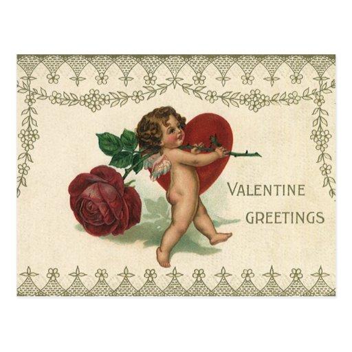 Vintage Valentine Victorian Angel Cupid Rose Heart Post Cards